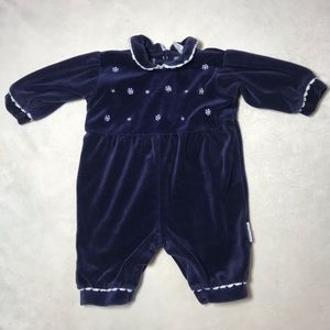 Infant 3-6 mos Velour Long Sleeve One Piece Winter